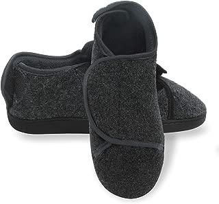 Merewill Memory Foam Diabetic Slippers House Shoes Indoor/Outdoor Men's Slip On Clog Adjustable Closures Extra Wide Width Comfy Warm Plush Fleece Arthritis Edema Swollen Slipper