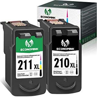 Economink Remanufactured Ink Cartridge Replacement for Canon 210 211 210XL 211XL PG-210 XL CL-211 XL for Pixma mp280 mp495...