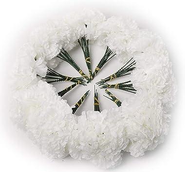 "100 White Silk Carnation Picks, Artificial Flower Heads for Weddings, Decorations, DIY Decor, Bulk Carnations, 3.5"" Carnation"