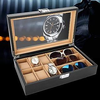 Smyckesskrin lyx kol, smyckeförvaring smyckeslådor fiber PU läder klocka glasögonhållare armbandsur solglasögon vitrin för...