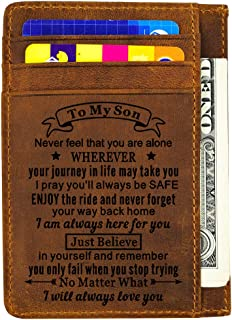 Engraved Leather Wallet Card Holder Wallet Inserts Personalized Gifts To Son Dad Husband Boyfriend (Card holder-To my son)
