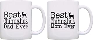 Dog Lover Gift Best Chihuahua Mom Dad Ever Accessory Bundle 2 Pack Gift Coffee Mugs Tea Cups White