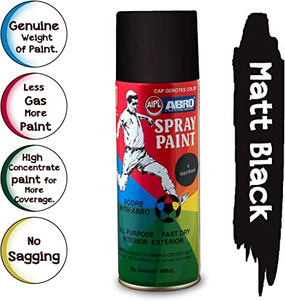 ABRO SP-4 Multipurpose Colour Spray Paint Can for Cars and Bikes (Matt Black, 400ml)