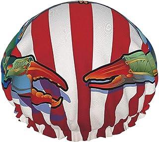 Czapka prysznicowa dla kobiet wodoodporna dwuwarstwowa kolorowa abstrakcyjna duży krab wielokrotnego użytku czapka do kąpi...