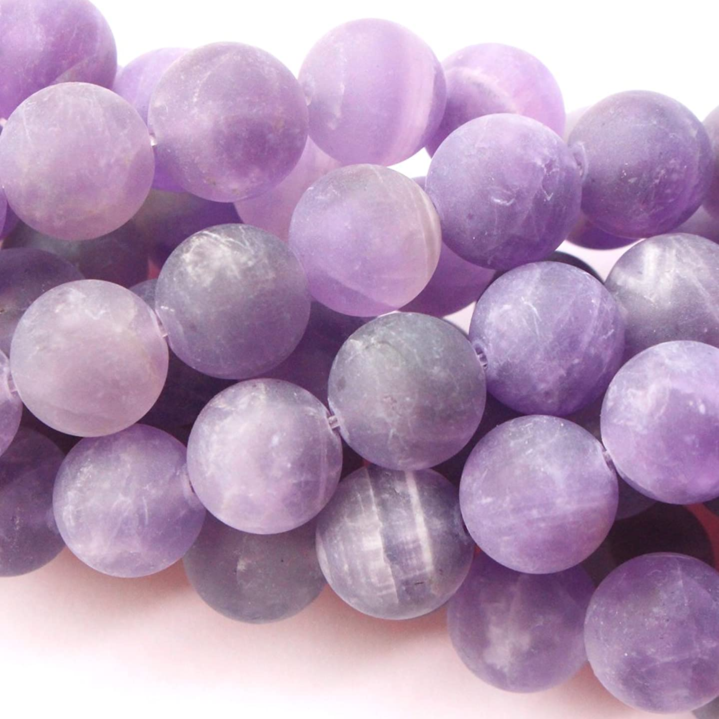 Natural Color Unpolished Matte Amethyst Round Gemstone Jewelry Making Loose Beads (10mm)