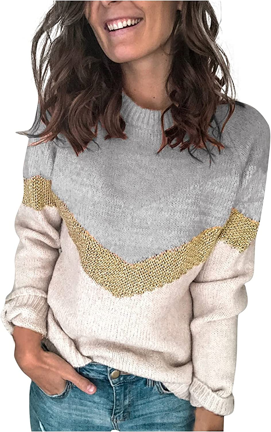 UOFOCO Pullover Sweaters for Women Long Sleeve Tops Knit Sweater Loose Fit Striped Crew Neck Shirts
