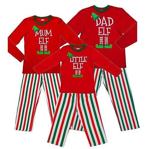 Red Elf Pyjamas Christmas Family PJs - Dad Elf Mum Elf   Little Elf 0888b0df5