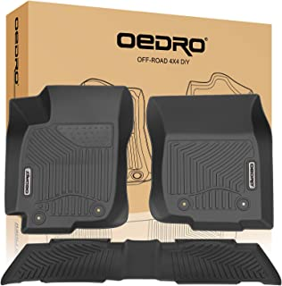 oEdRo Floor Mats Compatible for 2013-2018 Toyota RAV4 Standard Models, Unique Black TPE All-Weather Guard Includes 1st and 2nd Row: Front, Rear, Full Set Liners (Standard Models Only)