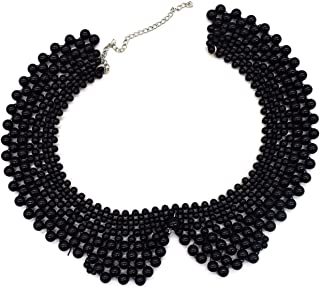 Detachable Faux Pearl False Collar Necklace Blouse False Collar with Pearl Bead for Women Black