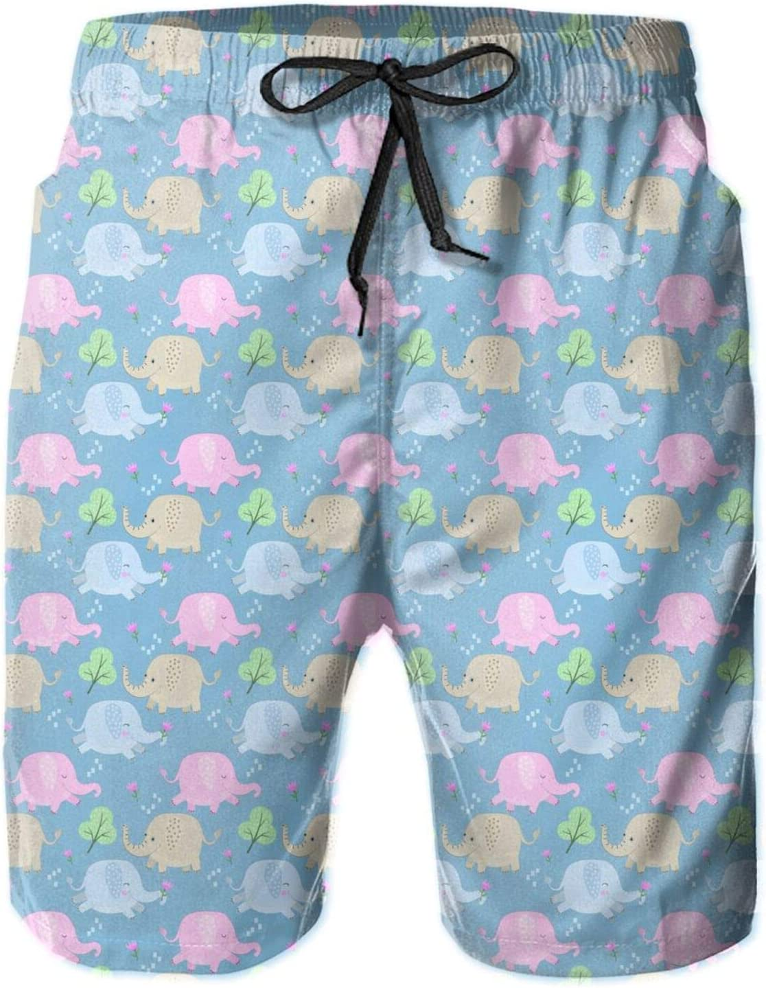 pengyong Cute Colorful Cartoon Elephant Pattern Summer Underwear Board Shorts Bathing Suits Holiday Swim Trunks Quick Dry