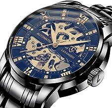 Men's Watch Luxury Mechanical Stainless Steel Skeleton Waterproof Automatic Self-Winding Rome Number Diamond Dial Wrist Watch