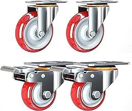 4 stks Meubelwielen Wielen Heavy Duty Transport Polyurethaan Wastoren, Swivel Plate Caster Wheels voor Workbench, Trolley,...