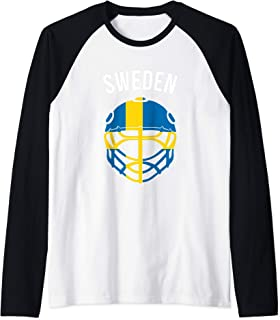 Distressed Helmet Swedish Flag Sweden Ice Hockey Raglan Baseball Tee
