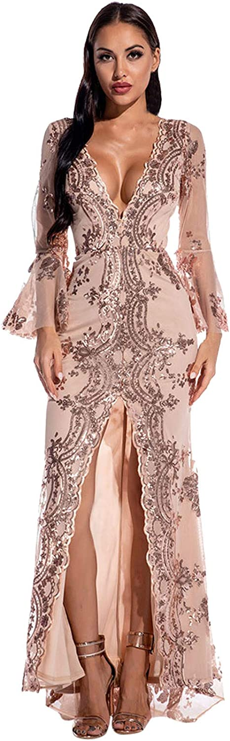 Women V Neck Mesh Sequin Raleigh Mall Long Max 50% OFF Dress Sleeve Party Stitching