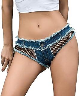 デニムショートパンツ 女性のミッドライズショーツ擦り切れた裾リッピングデニムジーンズショートパンツ デニムジャンショーツ (色 : Denim Blue, サイズ : M)