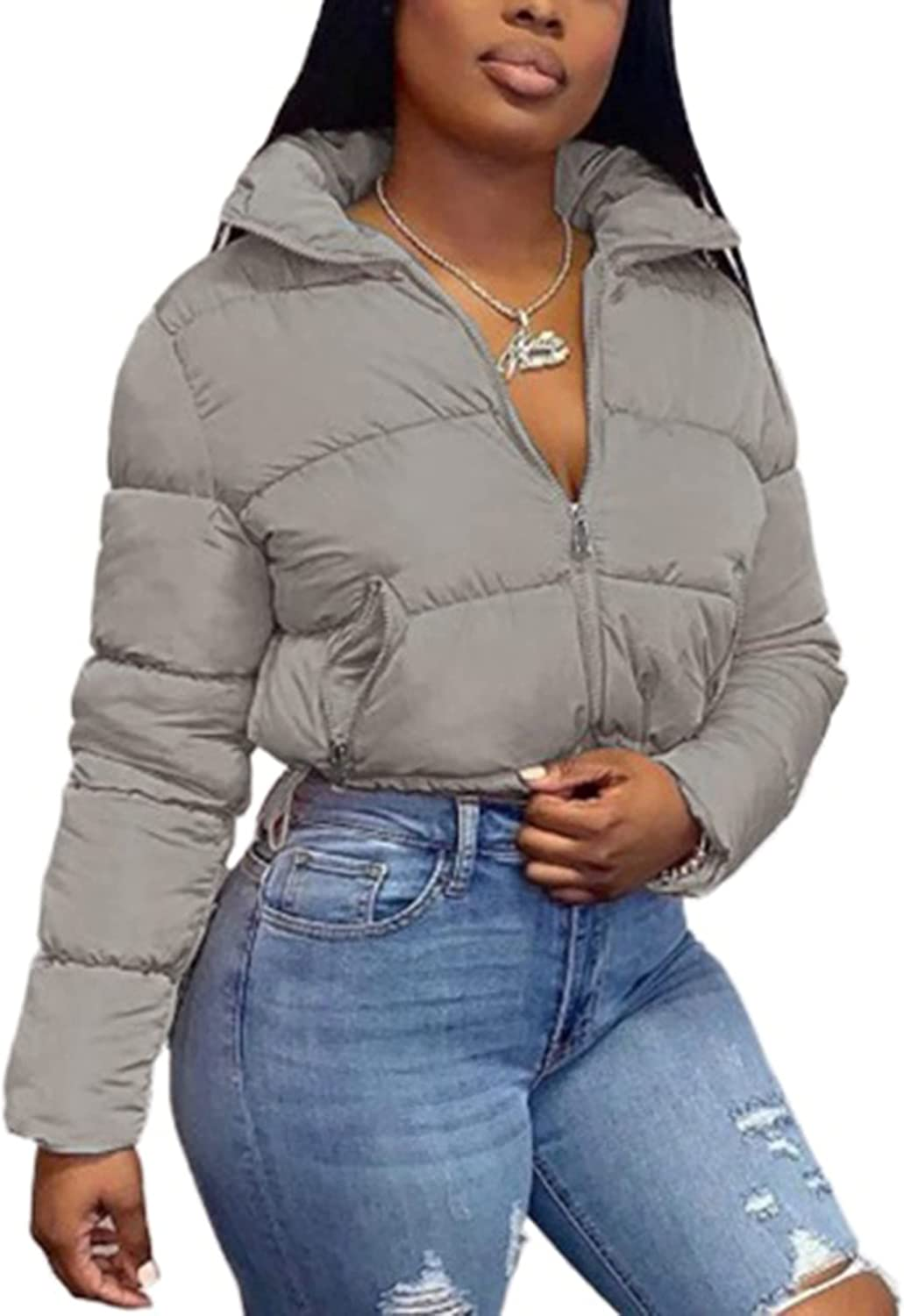 Uaneo Women's Casual Full Zip Stand Collar Cropped Puffer Jackets Bubble Coats(Grey-S)