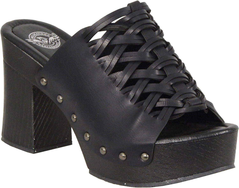Milwaukee 新作 人気 Leather MBL9410 Women's Black Open Wedges Platform Toe 高価値