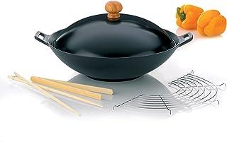 Kela 77943 set wok 5 pièces, fonte, diamètre 36 cm, contenance 4,5 litres, 'Set wok Asia'