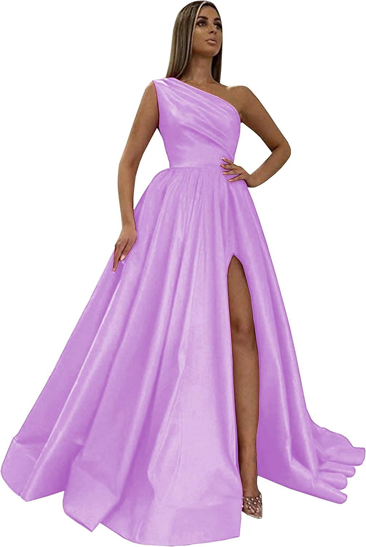 BOLENSEY Women's One Shoulder Max 76% OFF Satin Over item handling ☆ Dresses Long Prom with Slit
