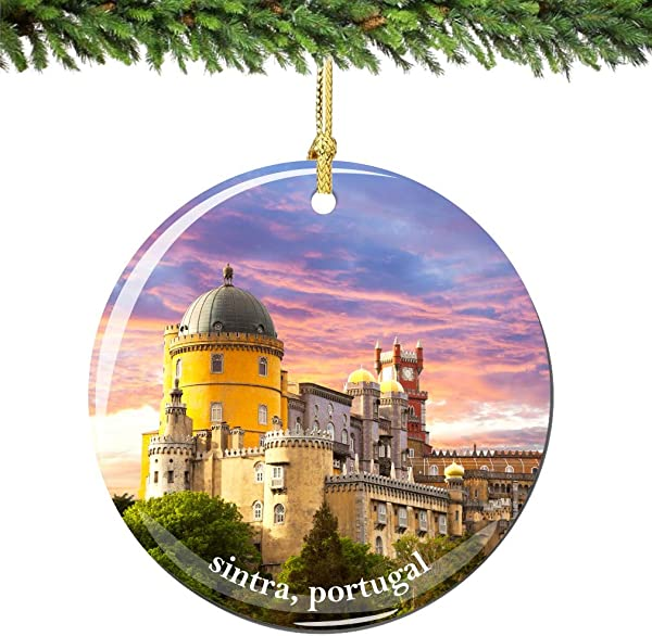 City Souvenirs Sintra Portugal Christmas Ornament Porcelain Double Sided