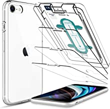 LK [3 Pack] Screen Protector with [1 Pack] Clear Case for iPhone SE 2020 / iPhone SE2 4.7'', Tempered Glass [Case Friendly] [Easy-Installation Tool] HD Clear 9H Hardness