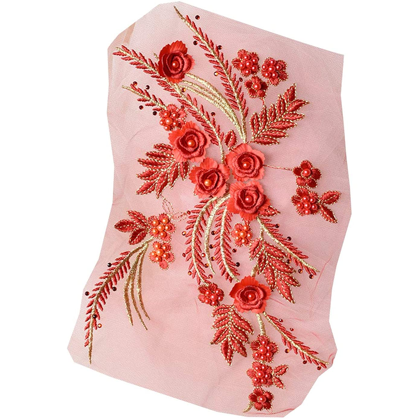 XUNHUI Red+Gold Exquisite Pearl Beaded 3D Flower Blossom Lace Applique for Dress Lace Patch 1 Piece