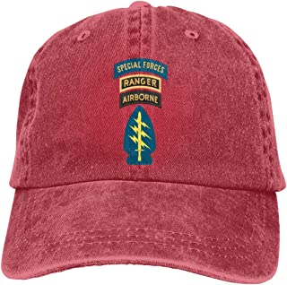 Qqwwa Special Forces with Airborne and Ranger Tab Patch Neutral Adjustable Baseball Cap