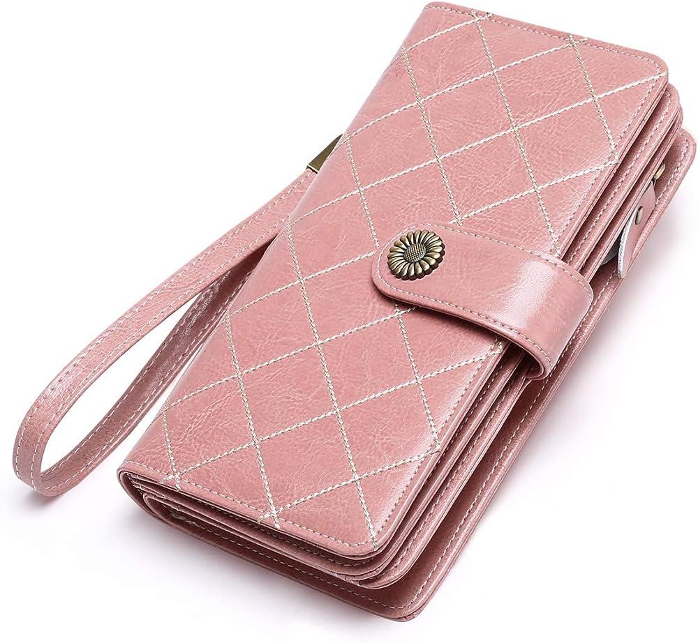 Btneeu portafoglio in pelle per donna porta carte di credito protezione rfid rosa 1
