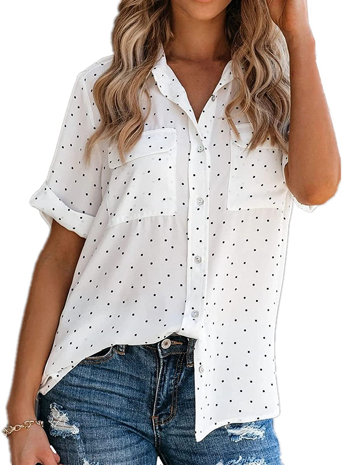 Adnee Women's Short Sleeve V-Neck Polka Dot Casual Blouses Button Down Shirts with Pockets