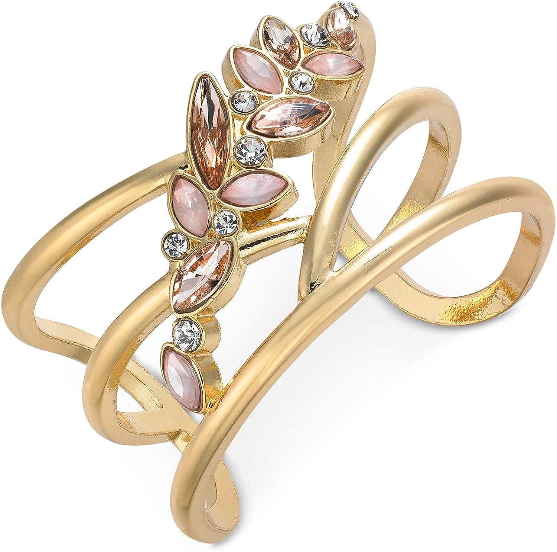 INC International Concepts I.N.C. Multi-Stone Flower Cuff Bracelet
