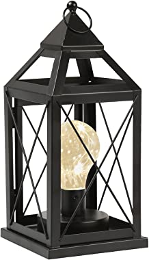 """Circleware Lantern Metal Cage Style Desk, Table, or Hanging Lamp - Cordless Accent Light with LED Bulb - 10.25"""" High"""