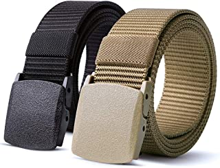 Mens Belt Set of 2 Bulliant Tactical Nylon Belt Metal-Free Mens Adjustable Outdoor Sports Belt, by Artio