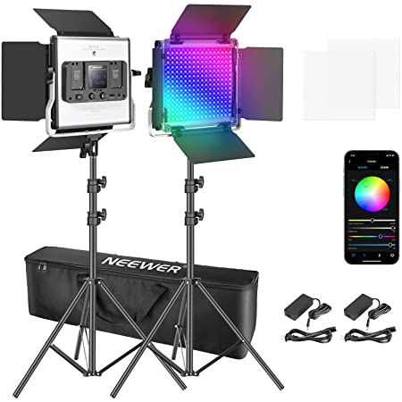 Neewer 660 RGB LED Video Light with App Control, Photography Video Lighting Kit with Stands and Bag, 2-Pack Dimmable Led Panel Light with CRI95/3200K–5600K/0–360° Full Color/9 Applicable Scenes