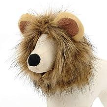 ZZQ Linda Mascota Traje de transfiguración león Melena Invierno cálido Peluca del Gato pequeño Perro de Fiesta Ropa de decoración con Oreja Ropa para Mascotas Vestido de Gato