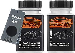 TRISTARcolor Autolack Lackstift Set für Mazda A3F Brillant Black/Brillantschwarz Basislack Klarlack je 50ml