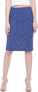 Globus Blue & White Knee Length Printed Pencil Skirt