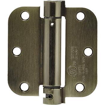 AmazonBasics Self-Closing Door Hinge, 3.5 Inch x 3.5 Inch, 1 Piece, Antique Brass