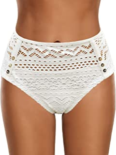 Utyful Women's Crochet Lace Mid Waist Full Coverage Bikini Briefs Bottoms Swim Shorts
