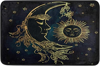 Hand Drawn Moon with Feathers Sun Stars Doormat Entrance Mat Indoor/Outdoor Door Mats Floor Mat Rug Mat 23.6x15.7 inch