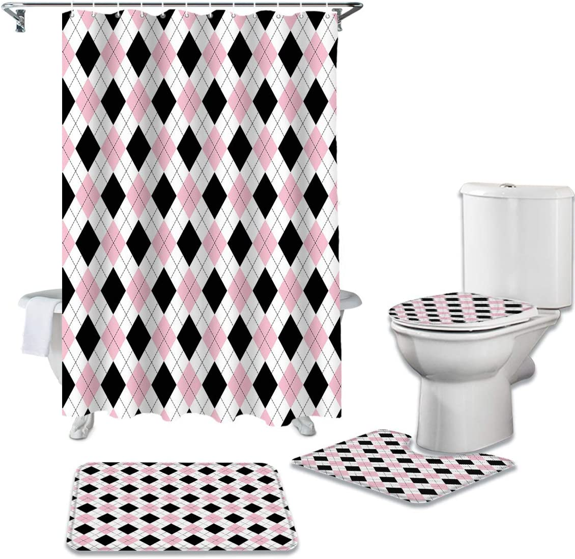 CHARMHOME 4 New sales Piece Shower Curtain Toilet Non-Slip Max 83% OFF Sets with Rug