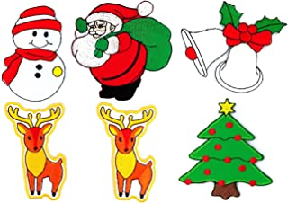 SANTA-SET-004 Christmas Patches, 6 Pcs of Applique Embroidered Patches - Iron on Patches - Santa (8x8cm.), Bell (7.5x7cm.), Christmas Tree (7x8cm.), Snowman (5x8cm.), Reindeer (5x8cm.)