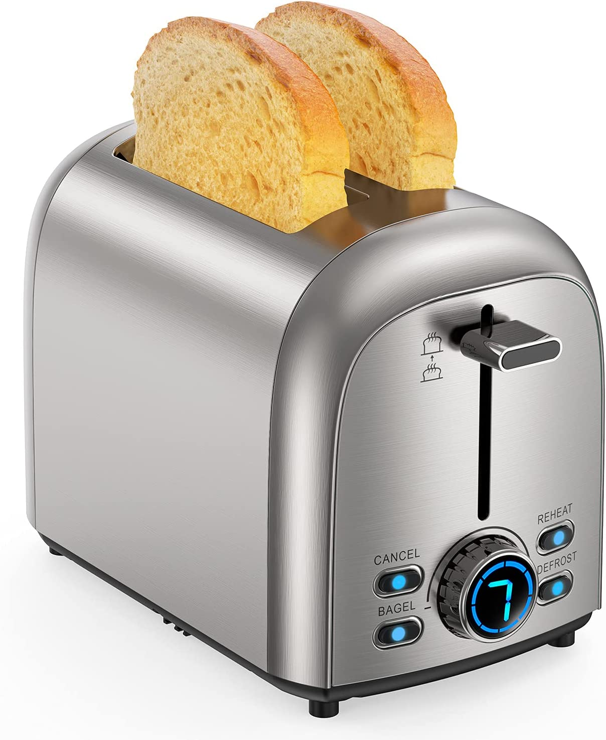 Toaster 2 Slice , Upgraded Stainless Steel Toaster, Extra Wide Slot Bread Toaster with Bagel Defrost Reheat Cancel Function , 7 Browning Settings, LED Display, 850W 120V