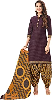 S Salwar Studio Women's Burgundy & Mustard Cotton Printed Readymade Salwar Suit Set(SS-SHREE-GANESH-5111_Brown_L,XL,XXL)