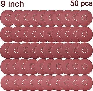 Sackorange 50 PCS 9-Inch 8-Hole Hook-and-Loop Sanding Discs Sander Paper for Drywall Sander (10 pcs Each of 60 80 120 150 240 Grits)
