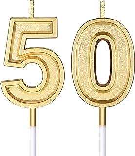Velas de Cumpleaños de Años 50 Velas de Pastel Numeral Decoración de Topper de Velas de Feliz Cumpleaños para Suministros de Celebración de Aniversario Boda Cumpleaños