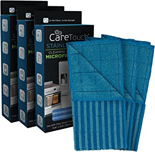 Microfiber Cleaning and Polishing Cloth for Stainless Steel by Care Touch – Double Sided Towel for Smooth and Textured Cleaning; Cars, Household Appliances, Pack of 3