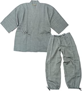 【日本製】近江ちぢみ本麻楊柳作務衣【IKISUGATA】 和粋庵特製巾着付き