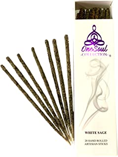 White Sage Incense Sticks - 20 Premium Hand Rolled Artesian Incense Sticks