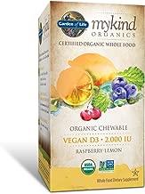 Garden of Life Vitamin D3 - mykind Vegan Organic D Vitamin Whole Food Supplement for Immune and Bone Health, 2000 IU, Raspberry Lemon, 30 Chewable Tablets