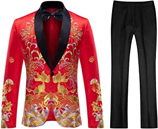 Mens Floral Sequin Embroidered Dress 2 Piece Suit Slim Fit Blazer Jacket Pants